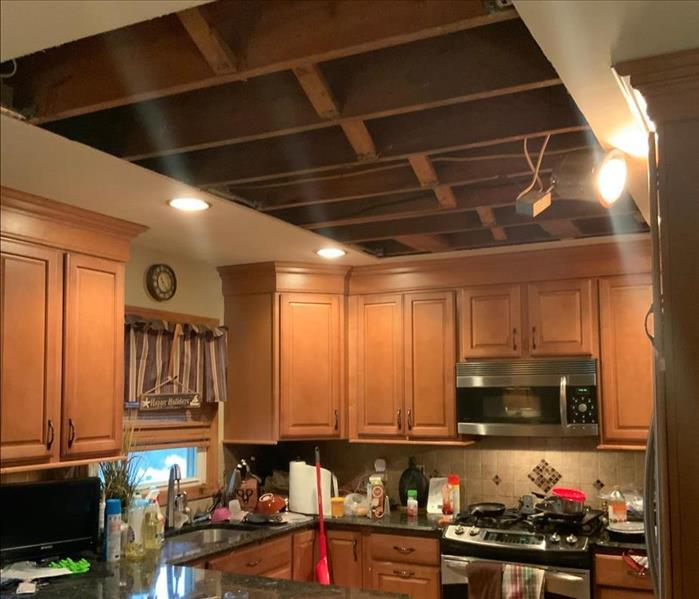 Kitchen ceiling cut out with framework exposed