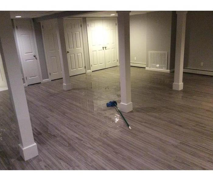 Basement with wood floor with standing water and a mop laying on it