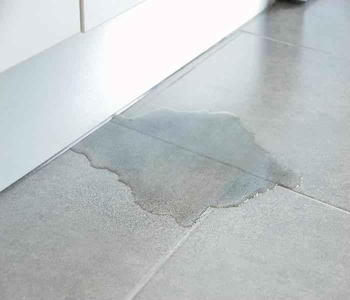 Close-up Photo Of Flooded Floor In Kitchen From Water Leak