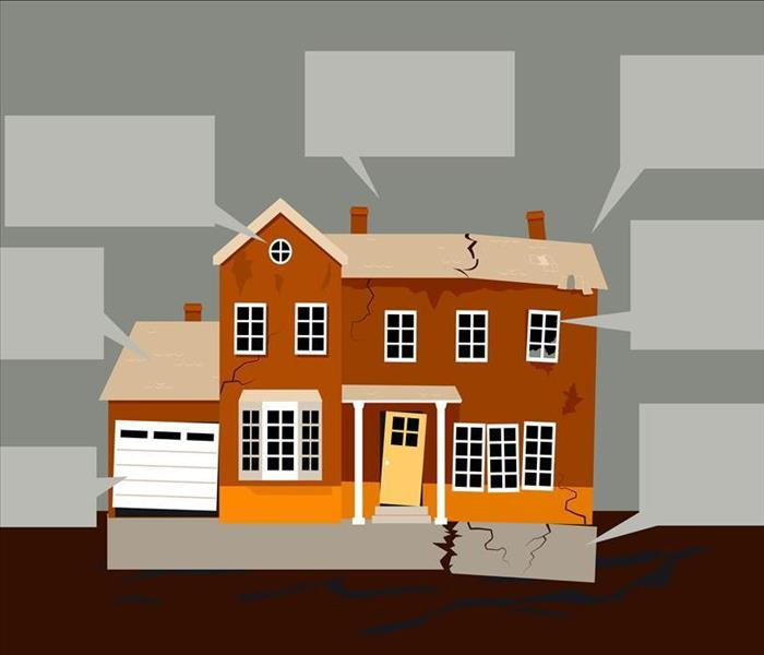 Cartoon Picture of a House with a Cracked Foundation