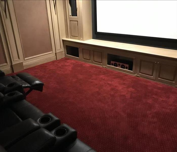 home theater, wet red carpet